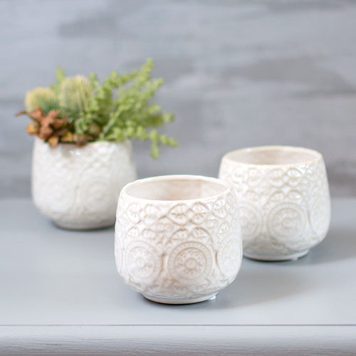 Round Ceramic Vase, Embossed Flower Pot, 3 inch, White, 8 Pack