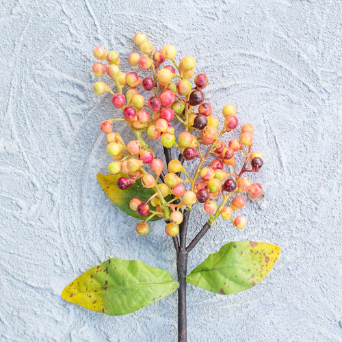 Berry Sprig, Artifical Branch, 13.5 inch, Yellow, Green, Cranberry Red