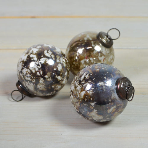Marbled Glass Christmas Ornaments, Round Balls, 3 in, Iridescent, 6 pk