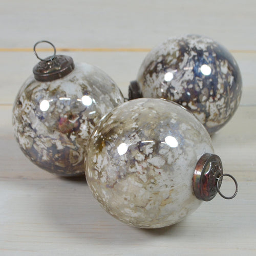Marbled Glass Christmas Ornaments, Round Balls, 4 in, Iridescent, 6 pk
