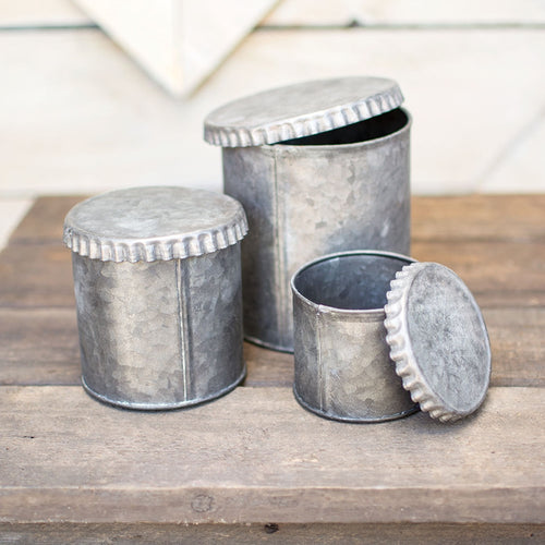 Galvanized Metal Canisters, Vintage-Inspired Tin Pots, Set of 3