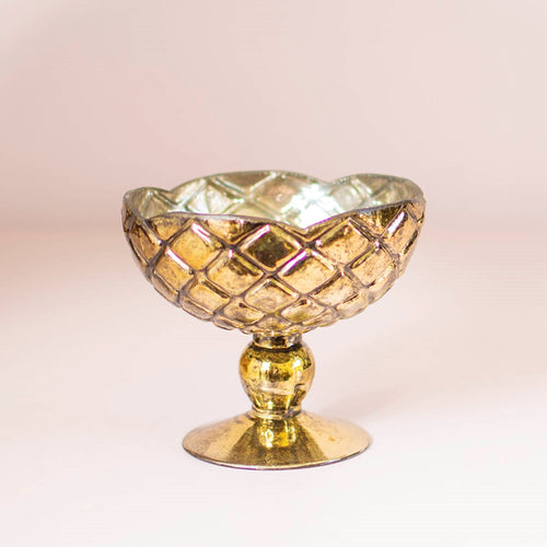 Mercury Glass Compote, Round Quilted Bowl with Pedestal, 4.5 in, Gold