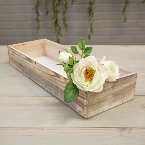 Planter Box, Rustic Wood, Plastic Liner, Rectangle, 18.75in, Whitewash