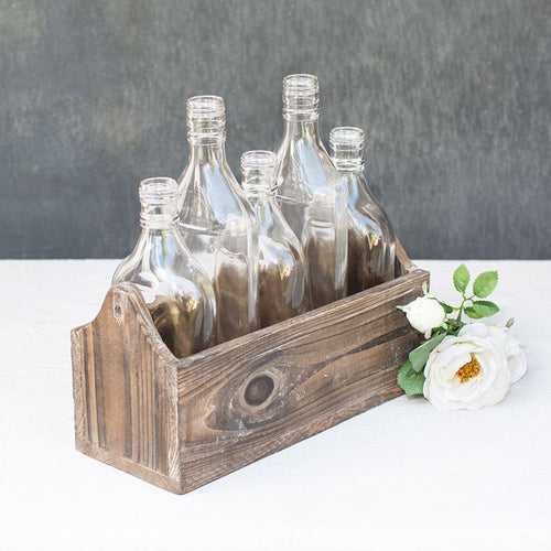 Bottle Planter Box, 5 Glass Bottles in a Wood Holder, 10.75 inch