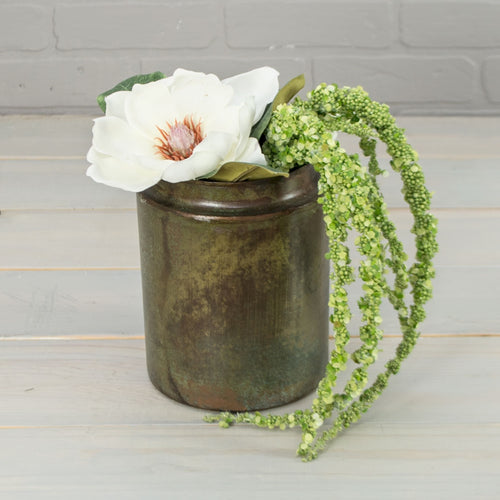 Industrial Metal Vase, Vintage-Inspired Planter Pot, 7.5 inch, Rustic