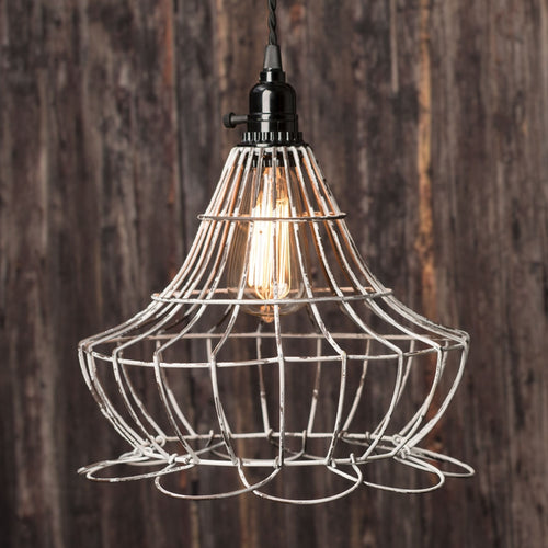 Gallery Bell Cage Pendant Light, Shabby Vintage Lamp Shade, Wire Frame
