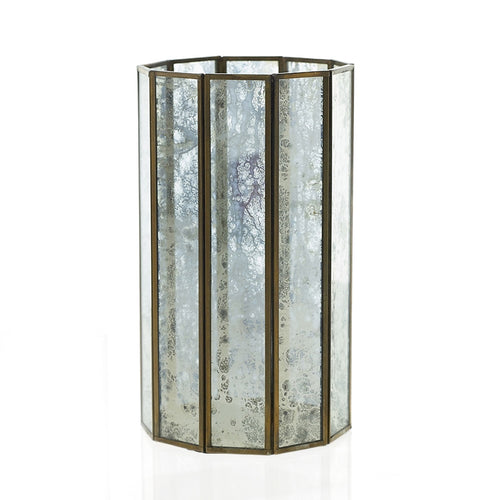 Pillar Candle Holder, Glass Lantern, Mirrored Panels, 10.75 inch, Gold