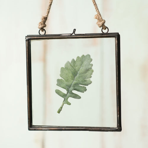 Hanging Picture Frame, Double Glass, Black Metal, 6.5 inch, Clear