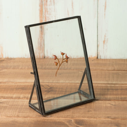 Metal Picture Frame, Double Glass, Black, Free Standing, 7 inch, Clear