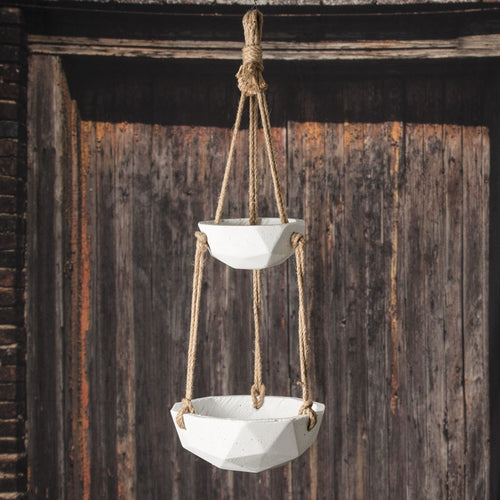 Hanging Planter Pot, Geometric Concrete Bowl, Two-Tiered, 31 in, White