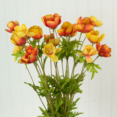 Artificial Poppy Flower Bush, Faux Bouquet, 20.5 inch, Orange Red