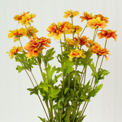 Artificial Daisy Wildflower Bush, Faux Bouquet, 20 inch, Orange Red
