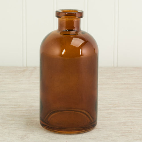 Glass Apothecary Bottle, Food Safe Jar, Bud Vase, 5 inch, Amber Brown