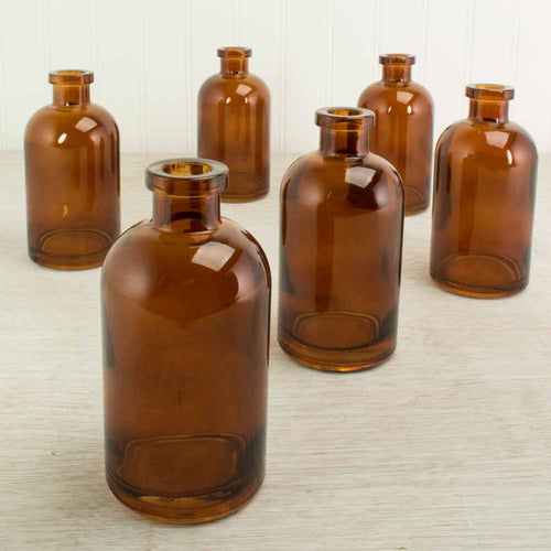 Glass Apothecary Bottle, Food Safe Jar, Vase, 5 in, Amber Brown, 6 Pk