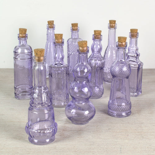 Glass Bottles with Cork, Vintage Bud Vases, 5.5 inch, Purple, 10 pcs