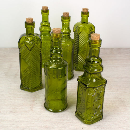 Glass Bottles with Cork, Vintage Bud Vases, 6.5 inch, Green, 6 pieces