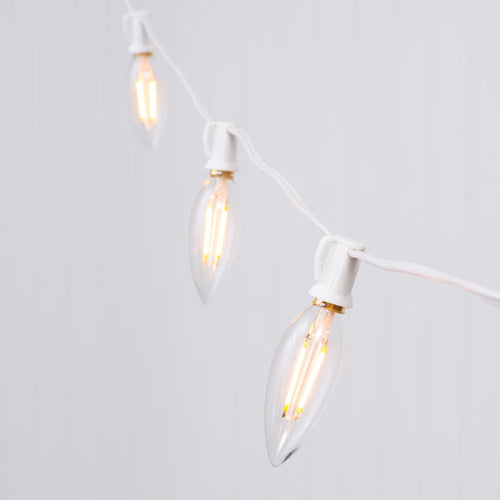 Globe String Lights, Dimmable B10 LEDs, 25ft White C7 Wire, Warm White
