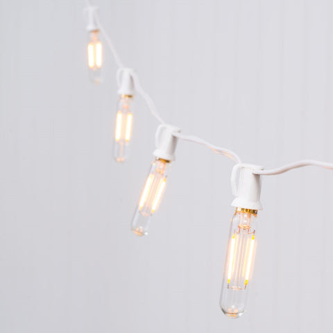 Commercial Globe String Lights, Acrylic Edison LED, 54 ft, White Wire, Cool White