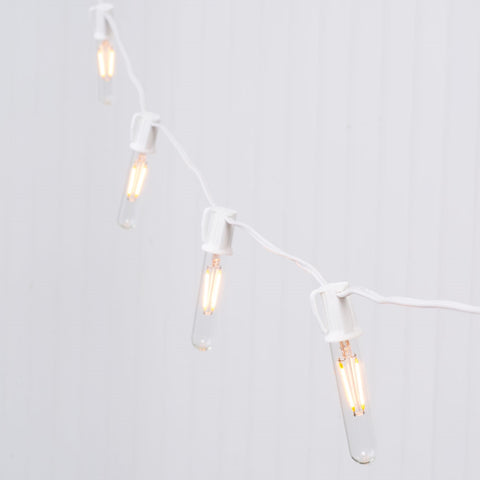 Commercial LED Edison Drop String Lights, 48 Ft White Wire, S14, Warm White