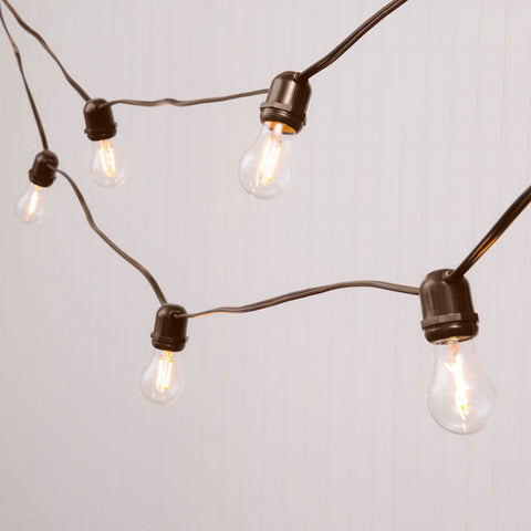 Commercial Globe String Lights, 100 Foot Brown Wire, S14 White Bulbs