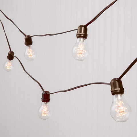LED Commercial Edison String Light, 104 Ft Brown Wire, Acrylic S14 Bulbs, Cool White
