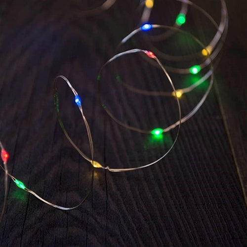 LED Fairy Lights, 6 Foot Silver Wire, Battery Operated, Multi Color, Set of 6