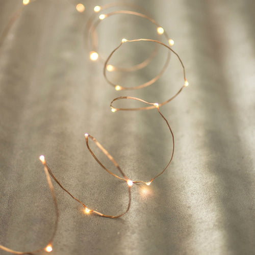 Fairy String Lights, LED, 5 Ft, Copper Wire, Battery, Timer, Warm White