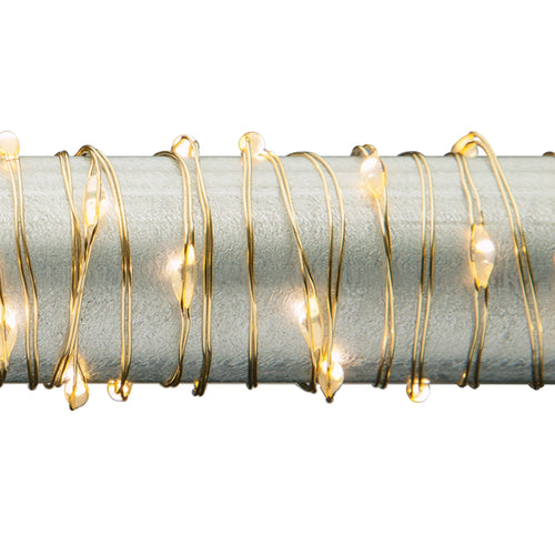 Fairy String Lights, LED, 5 Ft, Gold Wire, Battery, Timer, Warm White