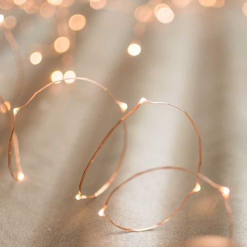 LED Fairy Lights, Timer, 10 Foot Copper Wire, 30 LEDs, B/O, Warm White