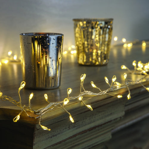 Silver LED Fairy Light Garland, 6 Ft, Plug, Multifuction, Warm White