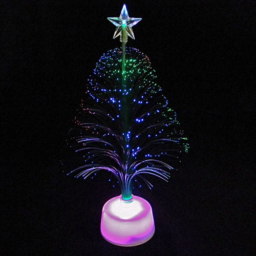 11 in. Christmas Tree Centerpiece, Color-Changing Fiberoptic LED, Set of 6