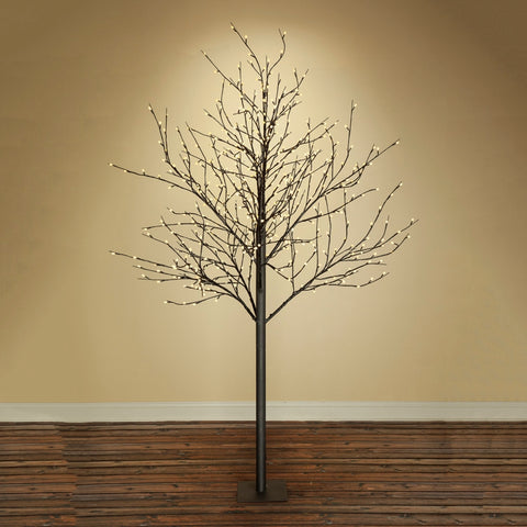 Lighted Tree, LED Lights, Brown Tree, 680 Lights, 7 Feet, Warm White