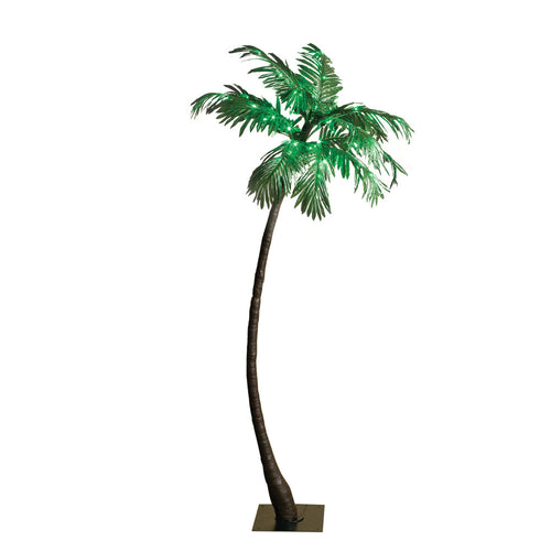 5 Foot Tall Electric Green Palm Tree, 56 LED Lights, Outdoor