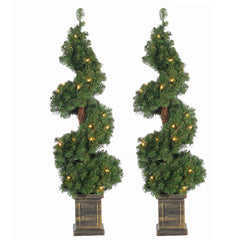3 Ft  Pre Lit Potted Spiral Trees (Set of 2)