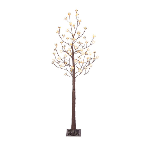 6 Ft Cotton Blossom Tree, Brown 72 Warm White, LED, Plug In