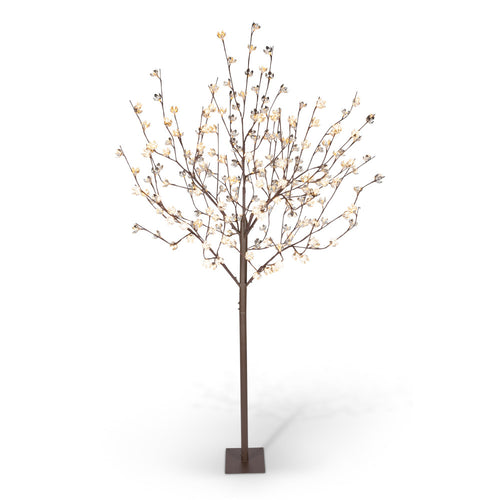8Ft Metallic Cotton Blossom Tree, 224 Warm White LED, Plug