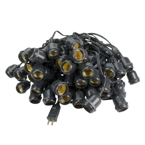 Commercial Globe Light Strand, Black Wire, 100 Feet, 50 Drop Sockets