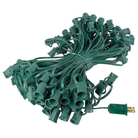 Globe Light Strand, Green Wire, 25 Feet, 25 C9 / E17 Sockets