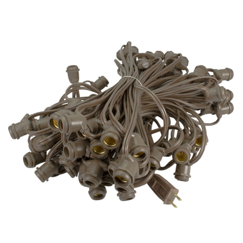 Commercial Grade Globe Strand, Brown Wire, 100 Feet, 80 E17 Sockets