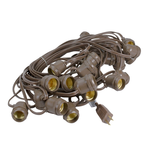 Commercial Grade Globe Light Strand, Brown Wire, 37.5 Feet, 25 Sockets