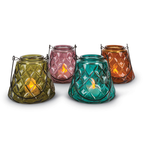 5.5-Inch Tall Glass, Flameless Votive Candle Holders with Handles in Assorted Colors (Set of 4)