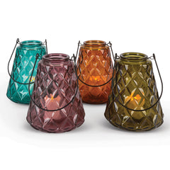 6.2-Inch Tall Glass, Flameless Votive Candle Holders with Handles in Assorted Colors (Set of 4)