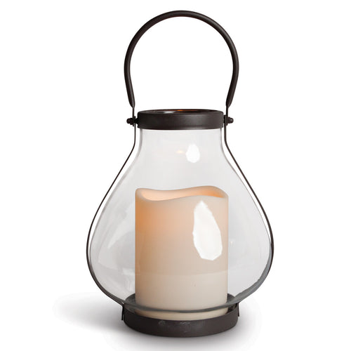 10.25-Inch Tall Metal and Glass Schoolhouse Lantern with LED Candle
