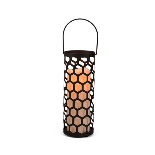 10.5-Inch Tall Black Metal Honeycomb Lantern with LED Candle and Timer Feature