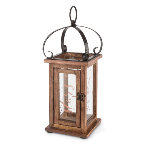 "15-Inch Wooden Lantern with ""Kiss Me Under a 1000 Stars"" Message in Copper (Candle Not Included)"
