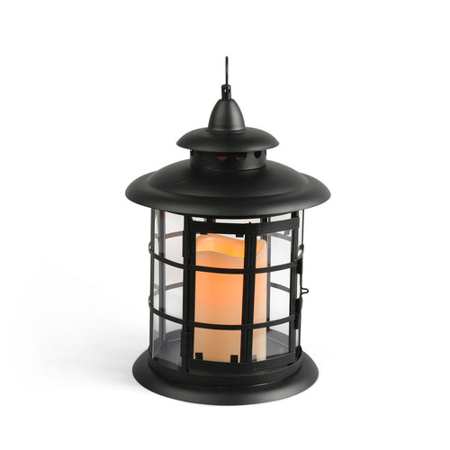 10.5-Inch Tall Round Metal Lantern with Steepled Roof, Circular Glass Panes and LED Candle