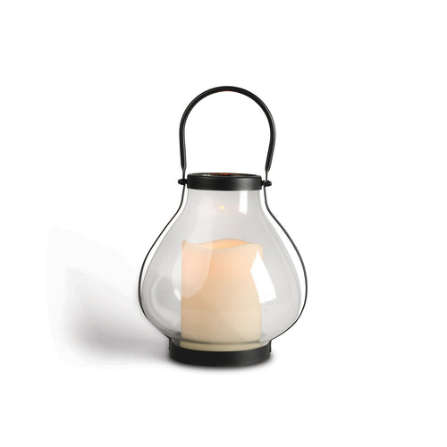 10.3-Inch Tall Metal School House Lantern with LED Candle and 5-hour Time Feature