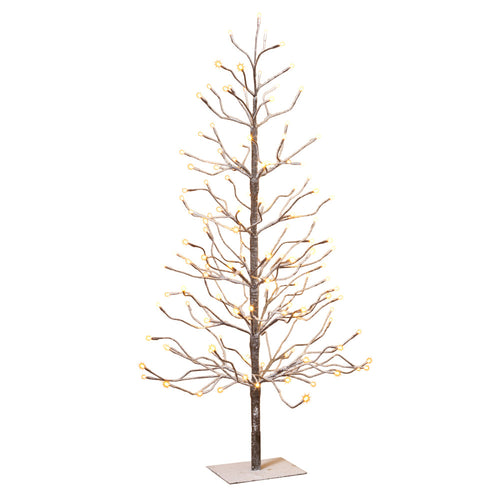 4-Foot, Brown Wrapped, Snowy Tree with LED Lighting