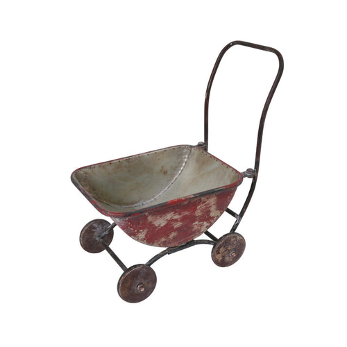 17.5-Inch Long Metal Antique Brush Painted Red Wagon Plant Holder