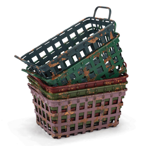 Distressed Metal Strapping Baskets with Two Handles in Assorted Colors (Set of 5)